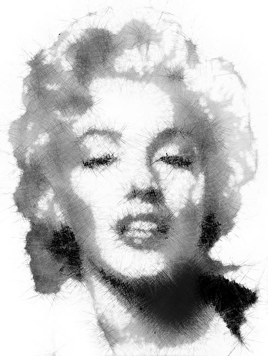 particle Drawing project  - marilyn monroe sketch
