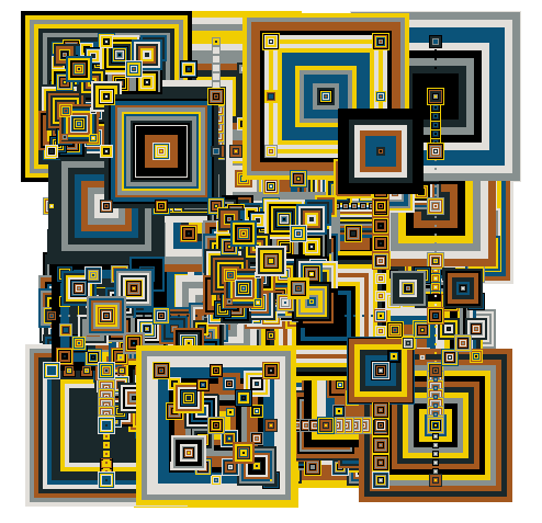Hilbert Space Filling Curve Abstract Geometric Art