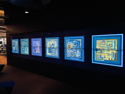 Space Filling Curve art installed in bank technology center lobby